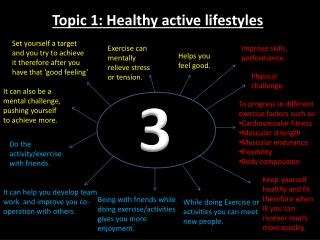 Topic 1:  H ealthy active lifestyles
