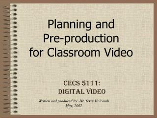 CECS 5111: Digital Video