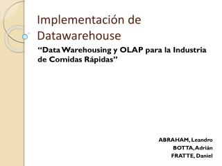 Implementación de  Datawarehouse
