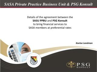 SASA Private Practice Business Unit & PSG Konsult