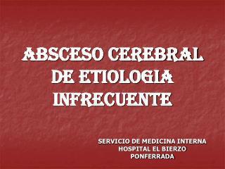 ABSCESO CEREBRAL DE ETIOLOGIA INFRECUENTE