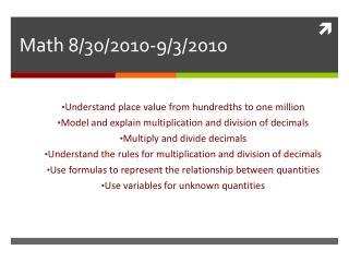 Math 8/30/2010-9/3/2010