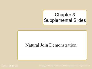Chapter 3  Supplemental Slides