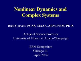 Nonlinear Dynamics and Complex Systems