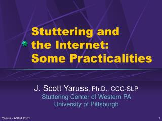 Stuttering and the Internet: Some Practicalities