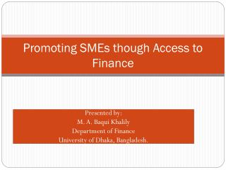 Promoting SMEs though Access to Finance