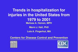 Trends in hospitalization for injuries in the United States from 1979 to 2001