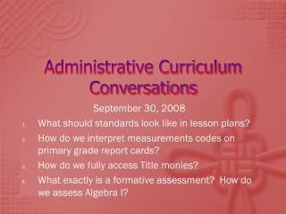 Administrative Curriculum Conversations