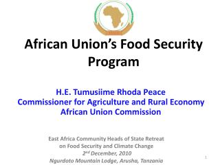 African Union s Food Security  Program