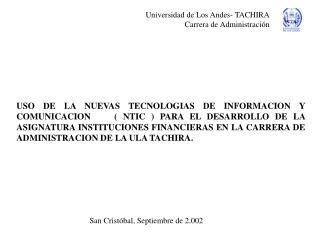 Universidad de Los Andes- TACHIRA Carrera de Administración