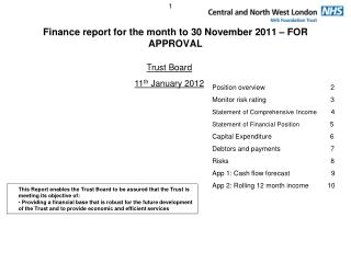 Finance report for the month to 30 November 2011 – FOR APPROVAL