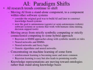 AI:  Paradigm Shifts