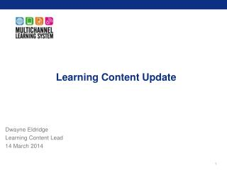 Learning Content Update