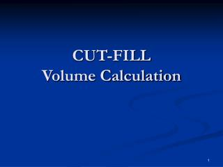 CUT-FILL Volume Calculation