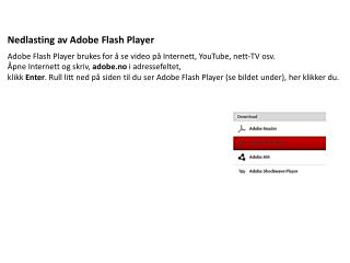 Nedlasting  av Adobe Flash Player
