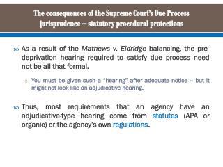 Statutory procedural requirements for adjudications – the APA framework
