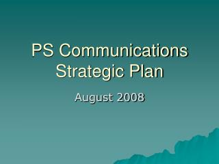 PS Communications Strategic Plan