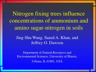 Nitrogen fixing trees influence concentrations of ammonium and amino sugar-nitrogen in soils