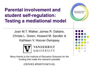 Parental involvement and student self-regulation:  Testing a mediational model