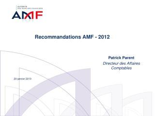 Recommandations AMF - 2012