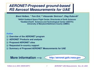 AERONET-Proposed ground-based RS Aerosol Measurements for UAE
