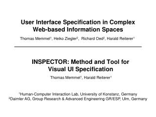 User Interface Specification in Complex Web-based Information Spaces