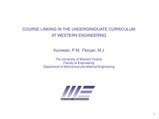COURSE LINKING IN THE UNDERGRADUATE CURRICULUM AT WESTERN ENGINEERING