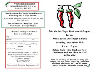 Join the Las Vegas UNM Alumni Chapter for our  Annual Green Chile Roast & Picnic