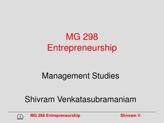 MG 298 Entrepreneurship