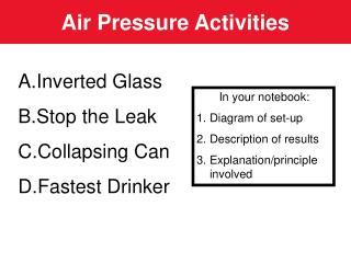 Air Pressure Activities