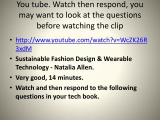 You tube. Watch then respond, you may want to look at the questions before watching the clip