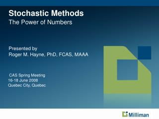 Stochastic Methods The Power of Numbers