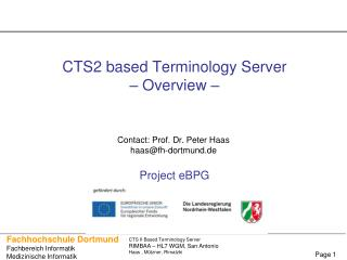 CTS2 based Terminology Server  – Overview –  Project eBPG