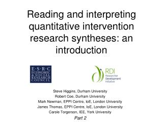 Reading and interpreting quantitative intervention research syntheses: an introduction