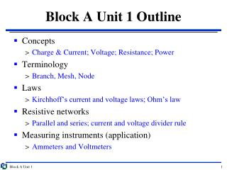 Block A Unit 1 Outline