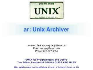 ar: Unix Archiver