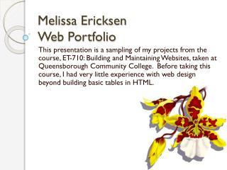 Melissa  Ericksen Web Portfolio