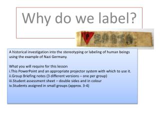 Why do we label?