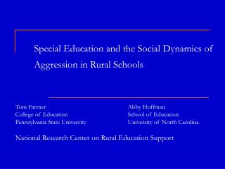 Special Education and the Social Dynamics of Aggression in Rural Schools