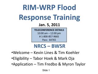 RIM-WRP Flood  Response Training Jan. 5, 2011