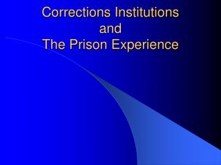 Corrections Institutions  and The Prison Experience