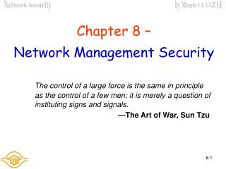 Chapter  8  – Network Management Security