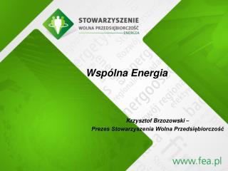 Krzysztof Brzozowski  – Prezes Stowarzyszenia Wolna Przedsiębiorczość