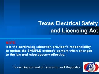 Texas Electrical Safety  and Licensing Act
