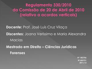 Regulamento 330/2010  da Comissão de 20 de Abril de 2010 (relativo a acordos verticais)