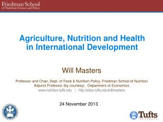 Agriculture, Nutrition and Health in International Development