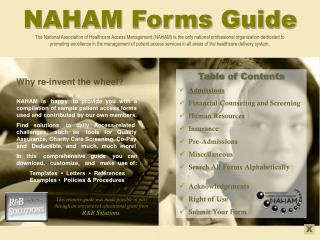 NAHAM Forms Guide