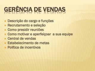 GERÊNCIA DE VENDAS