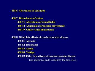 438.6  Alterations of sensation 438.7  Disturbance of vision