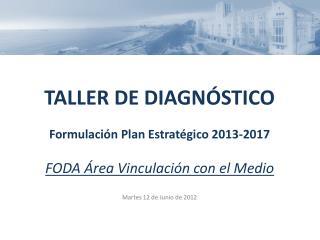 TALLER DE DIAGNÓSTICO Formulación Plan Estratégico 2013-2017 FODA Área Vinculación con el Medio